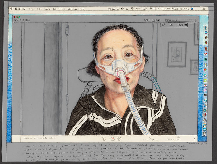 Zoom Portraits: Alice Wong, 2020, graphite / colored pencil on paper, 25.25 x 31.25 in. (framed)
