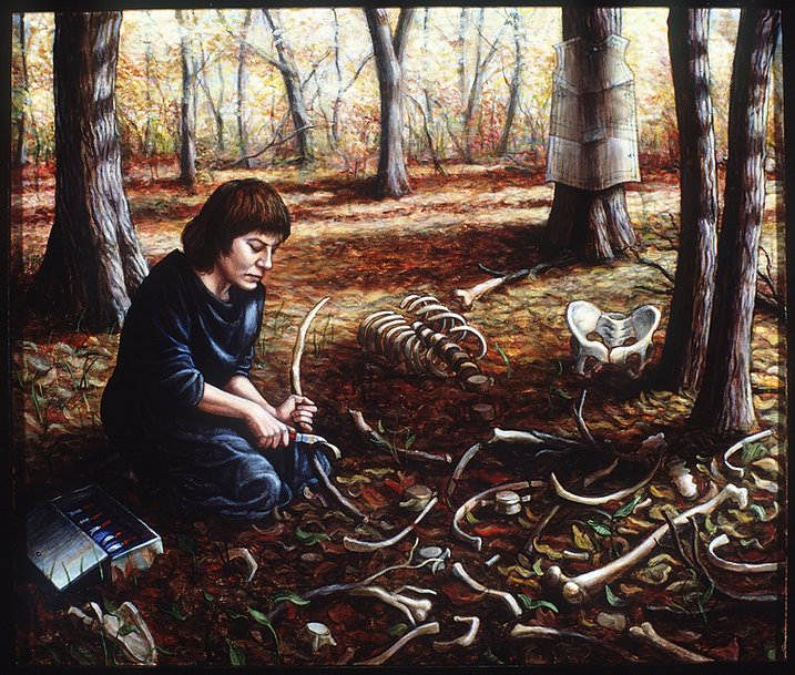 A self portrait in the medium of acrylic on panel. The artwork depicts Riva as a young adult kneeling down in the woods surrounded by tree trunks and autumn leaves. A fragmented human skeleton lies on the ground, made of carved wood. Riva is seen sawing through a long bone with a knife. She wears a long black dress. There is a full box of knives on the ground to her side. The sun shines on her through the trees. In the back right corner of the scene, a dress pattern is tacked to a tree trunk.