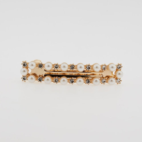 Barrette carrée perles strass