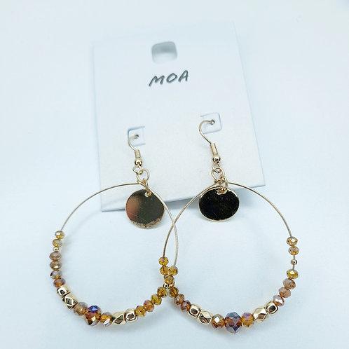 Boucle d'oreilles perles marron