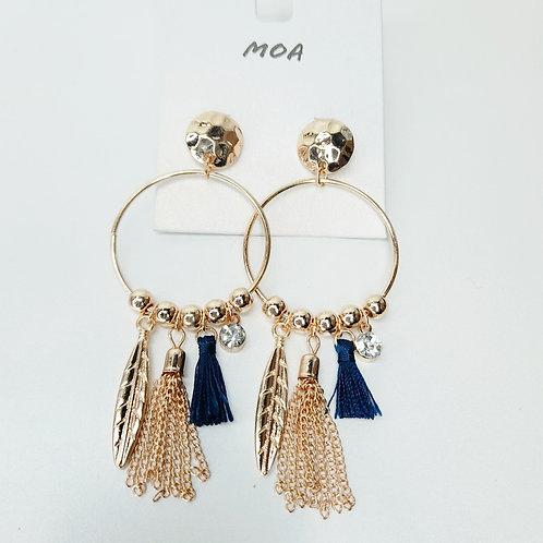 Boucles d'oreilles dorées pompons bleu