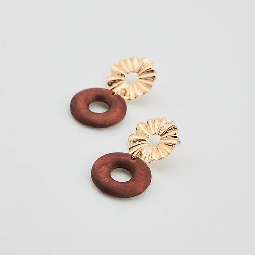 Boucles d'oreilles ronde et rond en bois