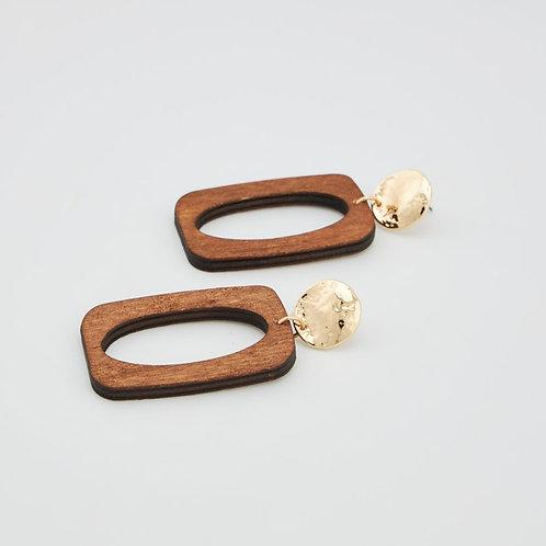 Boucles d'oreilles rectangle bois
