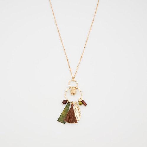 Collier long pendentif boule et multi pendants