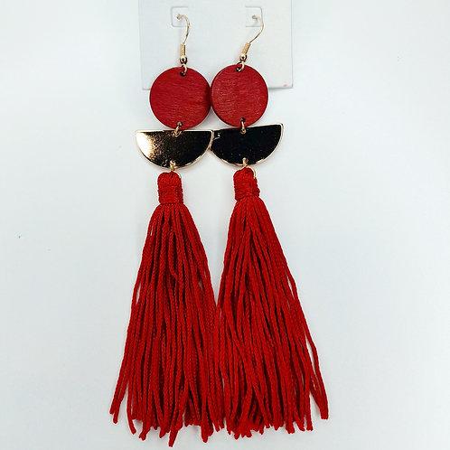 Boucles d'oreilles rouge pompons