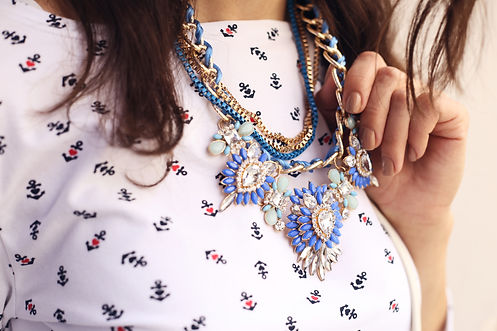 Girl with the golden-blue necklace. The