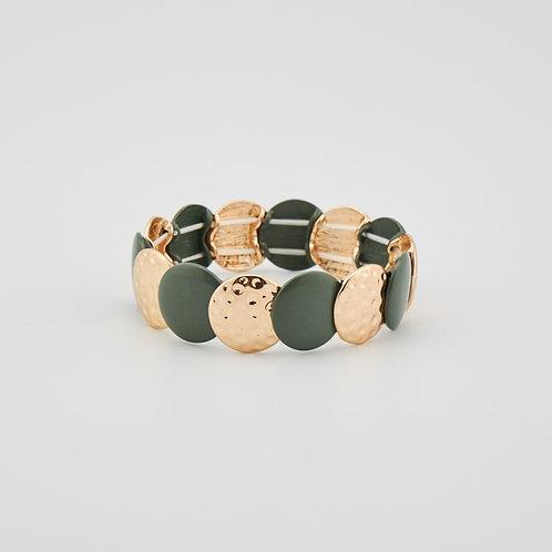 Bracelet élastique métal, martèle et bois