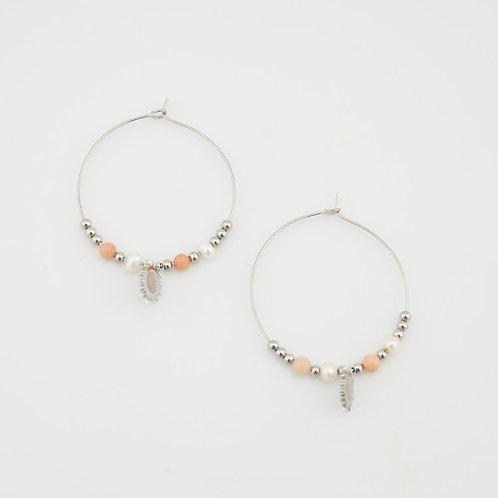Boucles d'oreilles créoles très fines perles et pendant soleil nacre
