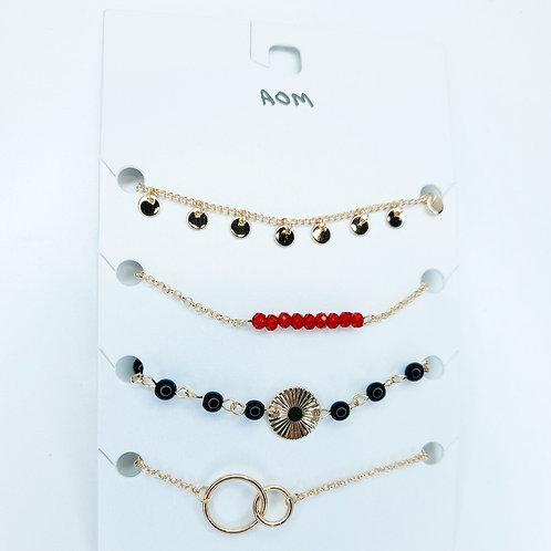 Lot de 4 bracelet rouge et noir