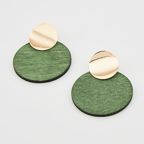 Boucles d'oreilles métal et rond  bois
