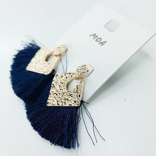 Boucles d'oreilles pompons bleu marine