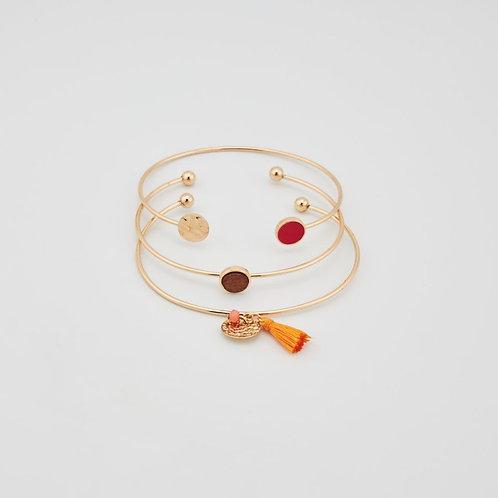 Trio de Bracelets doré et bois
