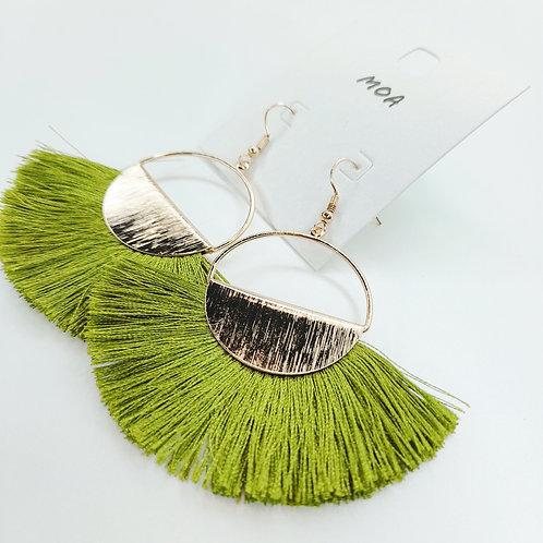 Boucle d'oreilles pompons vert