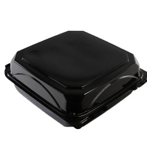 Black plastic box with lid for take out meal