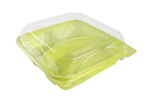 green plastic box with clear lid | 3 compartments | for take out meal