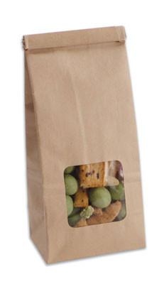 Kraft paper tin-tie bag with window