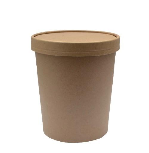 bol soupe pour emporter brun kraft avec couvercle
