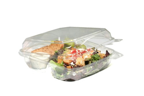 clear plastic box with lid | with 3 compartments | for take out meal