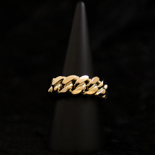 14K MARV 8MM CUBAN LINK RING