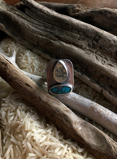 Sterling Silver Scrimshaw + Turquoise Ring