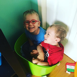 MISS JESS! MISS JESS!!!! Look look we both fit in the bed bucket 🤣😁🎉 #preschoollife #sillyboys #h