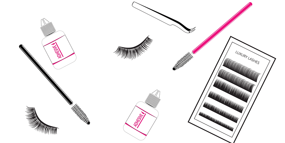 The Lash Pack Subscription Design with Adhesive, Spoolies, Tweezers & Lash Trays