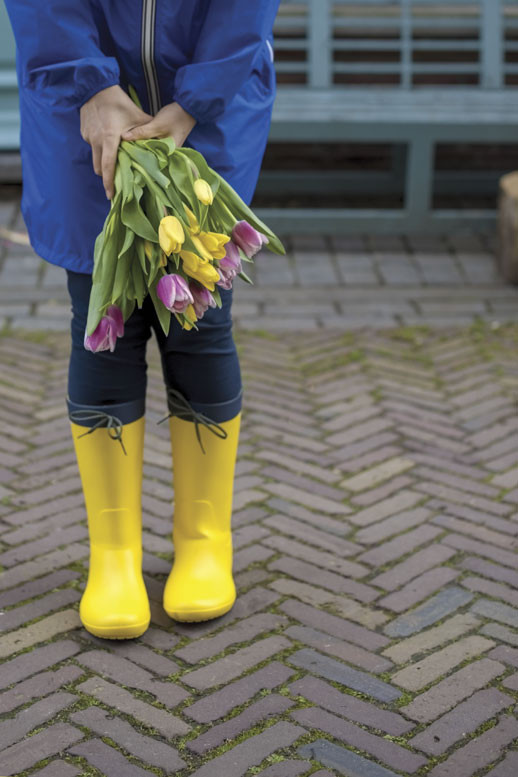 flowers and rain boots
