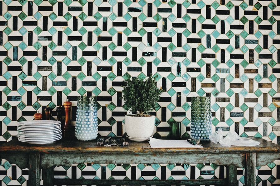 Green tiles decorating a home