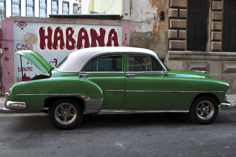 green car in Havana