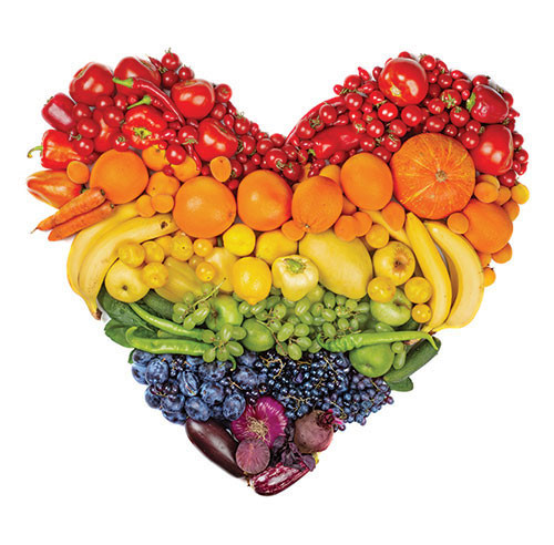 heart made up of fruits and vegetables