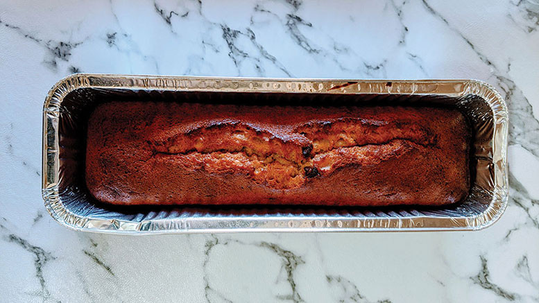 long narrow banana bread baked in a foil pan