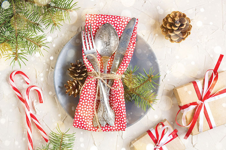 Christmas festive holiday table setting pine cone candy canes