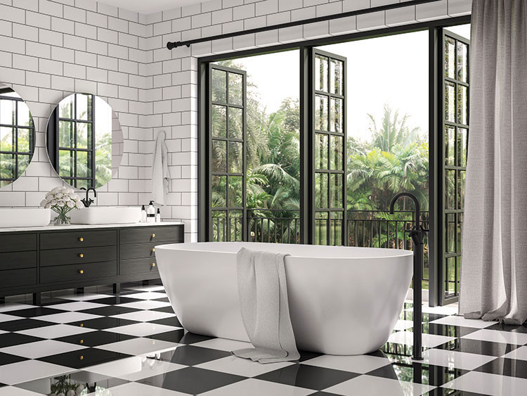 interior bathroom black and white tile open to outdoors