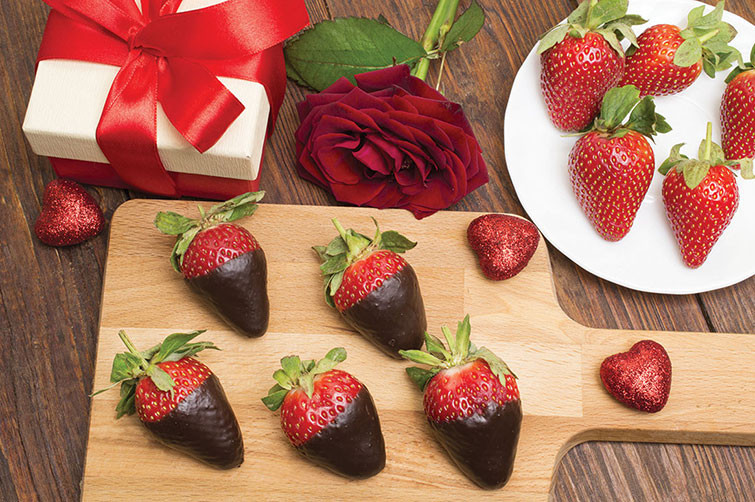 strawberries coated  in chocolate