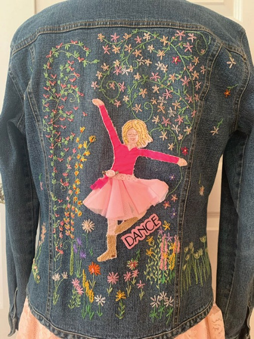 Embroidery on the back of a jean jacket
