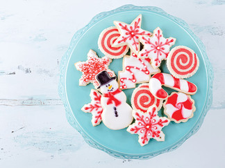 Baking Christmas holiday cookies for family and friends
