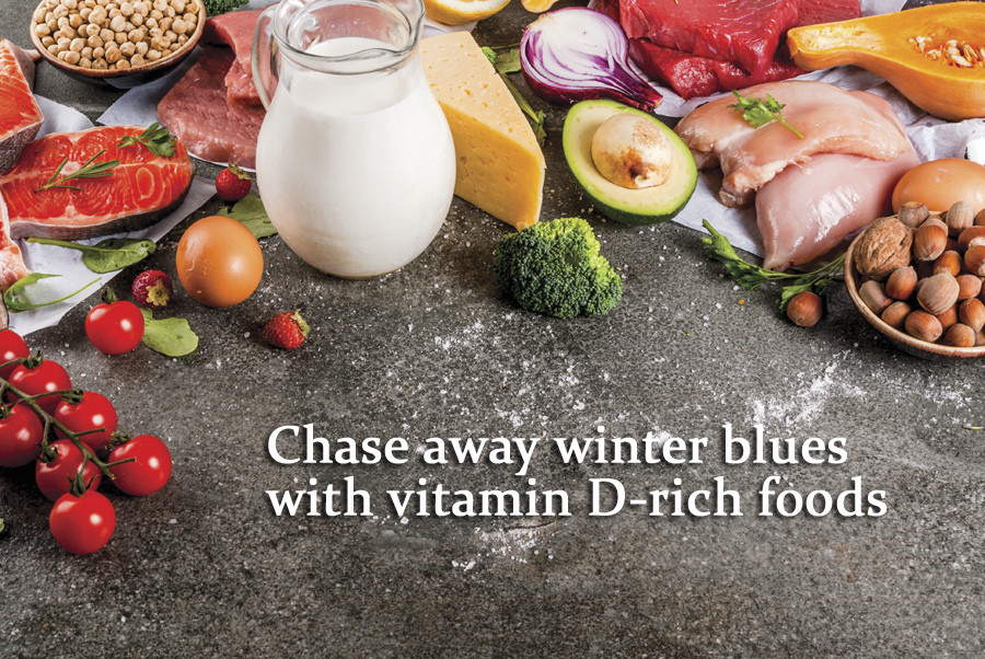 A spread of Vitamin D rich foods