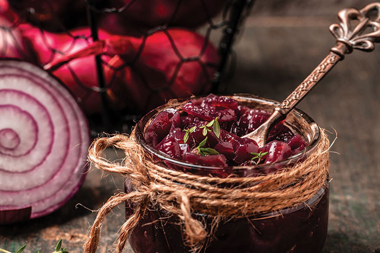 sort of like red onions or preserved onions with a spoon