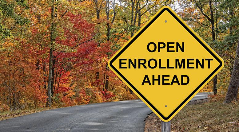 sign referring to Medicare open enrollment in OCtober