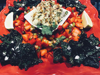 Kale Chip Salad with Spicy Strawberry Salsa and Avocado-Lime Crema