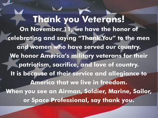 Veterans Day is Nov. 11
