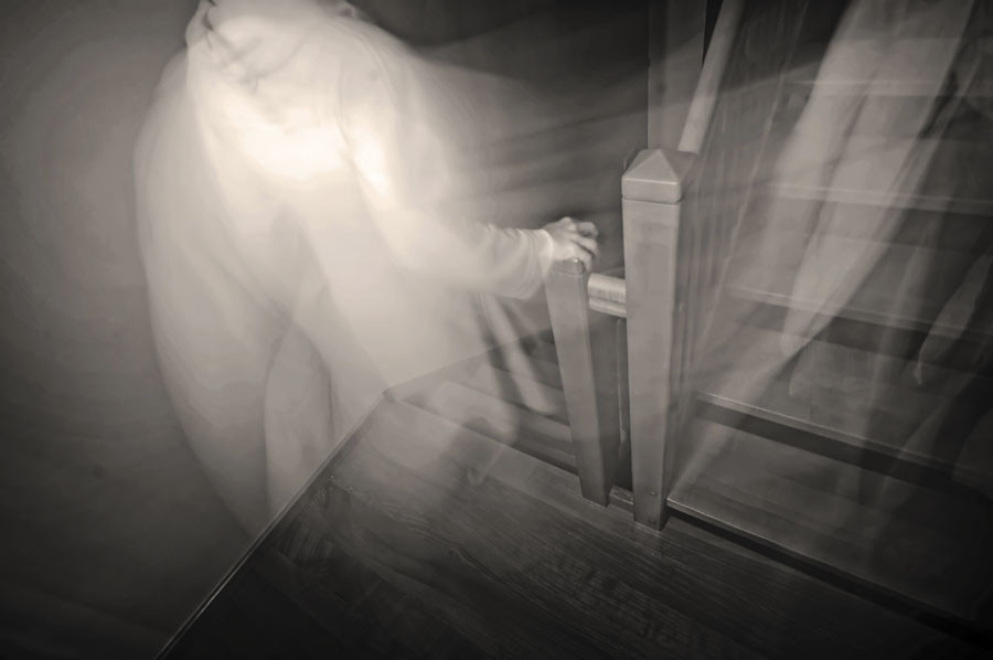ghostly image on stairs