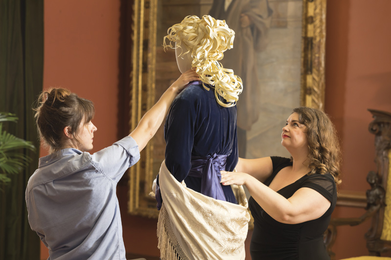 """Preparing the """"Glamour on Board"""" exhibit at Biltmore House"""