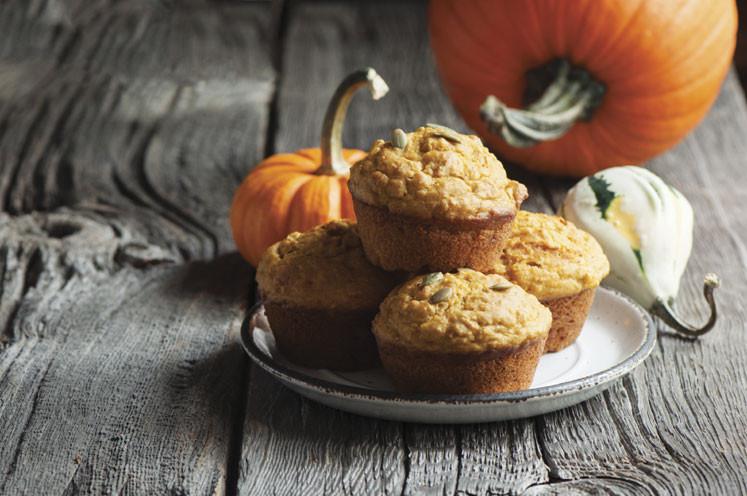 pumpkin banana muffins on a plate