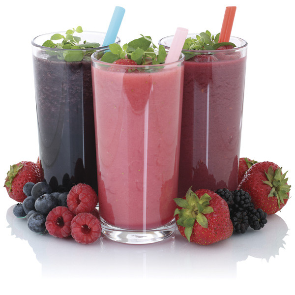 Three glasses of fruit smoothies
