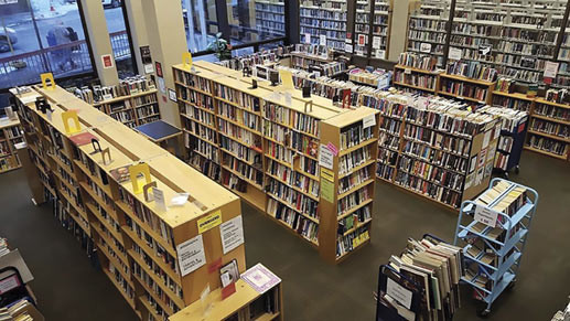 Wide view of Book stacks at Asheville library