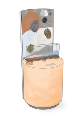 """Entwurfszeichnung einer interaktiven Station für die Wanderausstellung """"Watt erleben - Wattboden verstehen"""" - Ein Projekt von mgp ErlebnisRaumDesign GmbH"""
