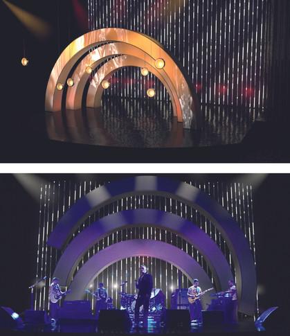 """Rendering für den Bühnenentwurf der Musiksendung """"On Tour"""" - Ein Projekt an der University of Salford"""