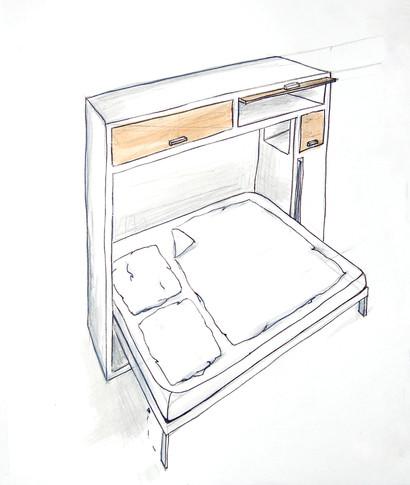 Entwurfsskizze für ein multifunktionales Möbelstück - Ein Projekt an der Muthesius Kunsthochschule