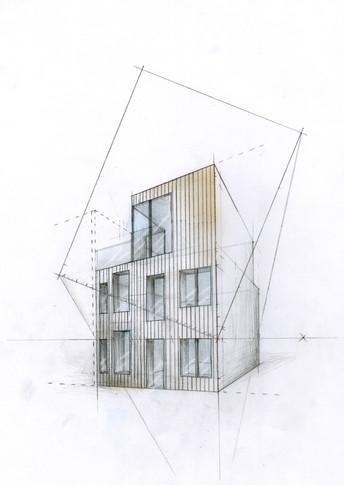 Zeichnung für den Entwurf eines Wohnhauses - Ein Projekt an der Muthesius Kunsthochschule